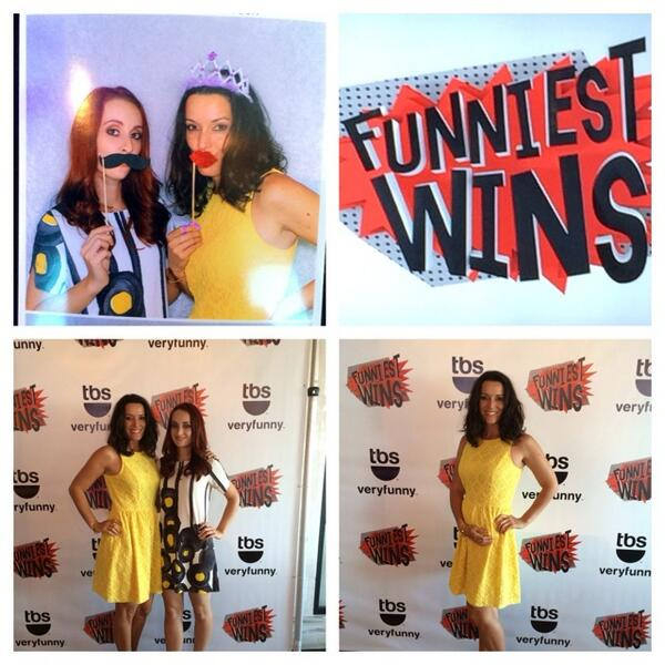 Ky Furneaux and Friend Pose with Props Step & Repeat Backdrop