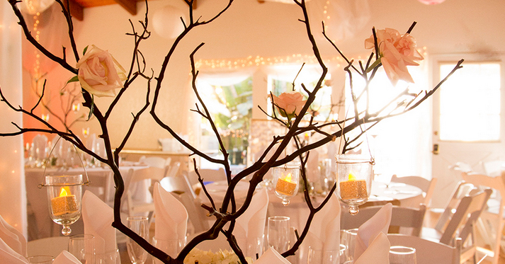 Centerpieces with Branches and Pink Flowers