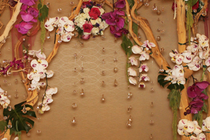 A Curated Scene of Flowers and Crystals for the Photo Backdrop