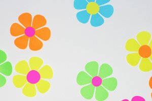 Bright Flowers on the Wall for this Groovy Event