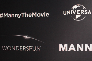 Manny the Movie Credits their Partners on this Step & Repeat Backdrop