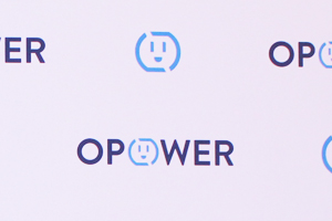 Opower's Icon and Logo Repeat in Blue on this Backdrop