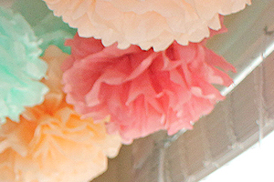 Flowers Made of Tissue Paper Add a Soft Pastel Touch to the Photos